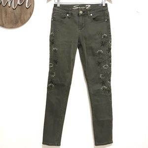 Seven olive green embroidered skinny jeans 4